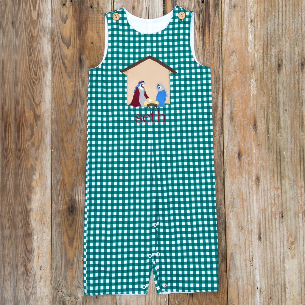Silent Night Green Check Applique Longall