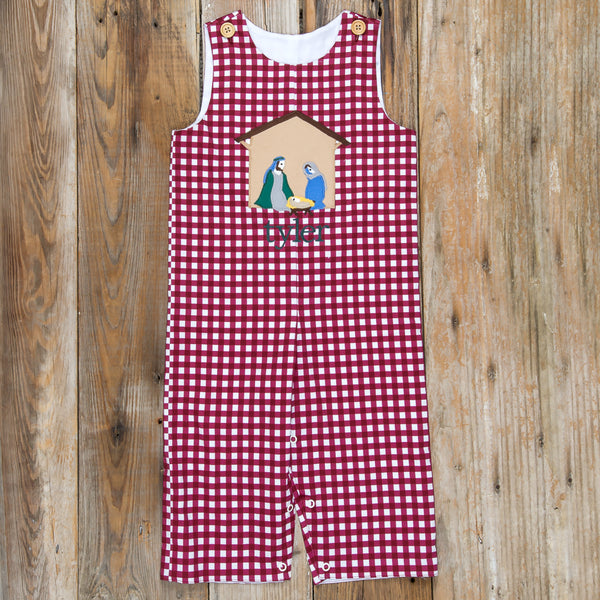 Silent Night Cranberry Check Applique Longall
