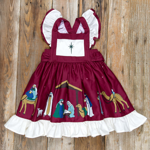 Silent Night Gracie Cranberry Embroidered Dress