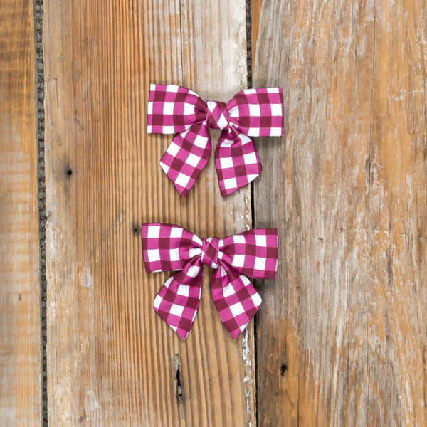Silent Night Mindy Cranberry Check Bows