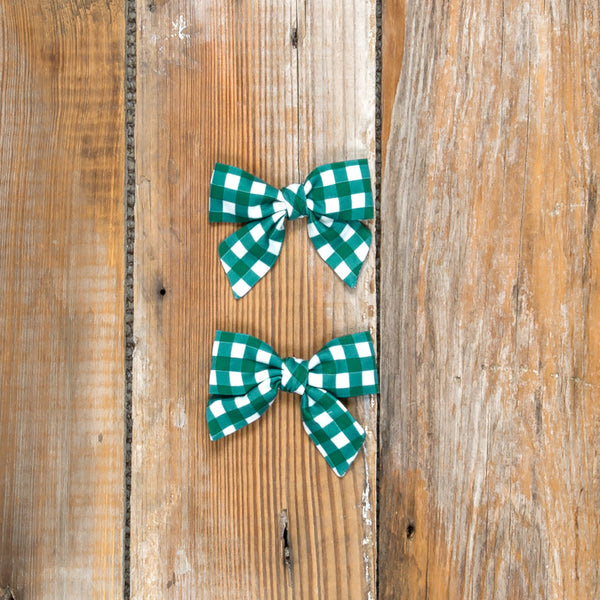 Silent Night Mindy Green Check Bows