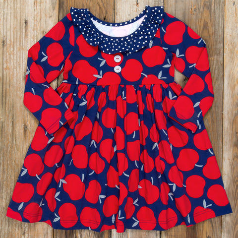 Back-to-School Surprise Heather Red Apples Dress