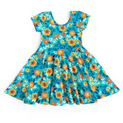 Annie Knit Teal Floral Dress