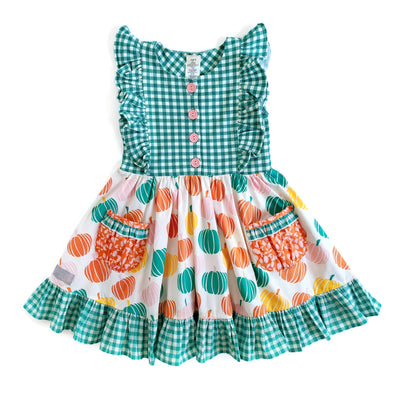 Pumpkin and Green Check Knit and Woven Dress