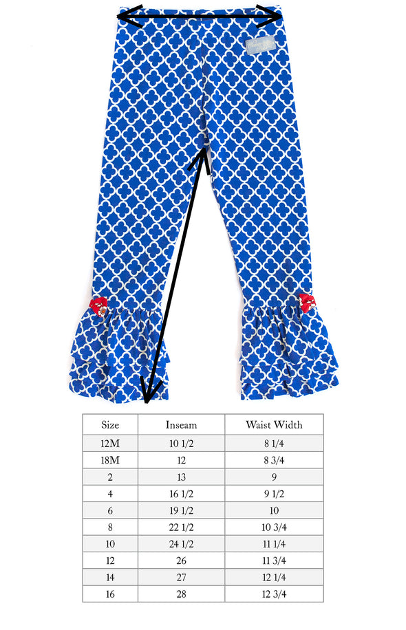 Blue Geometric Knit Ruffle Pant