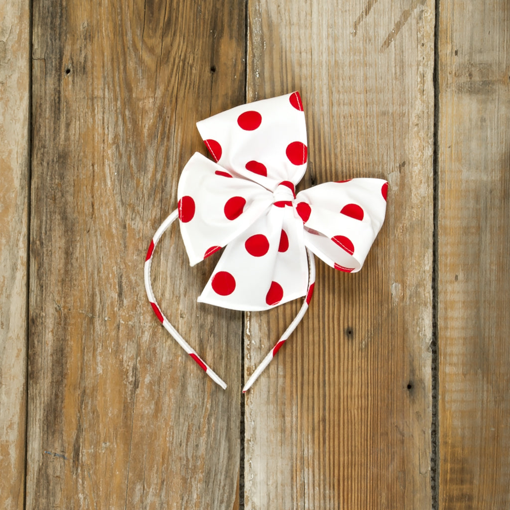 Cyber Monday Surprise Red and White Bea Headband