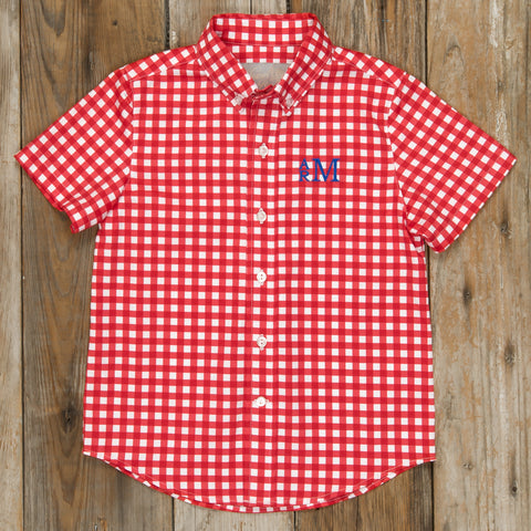 Patriotic Party Red Check James Button Down