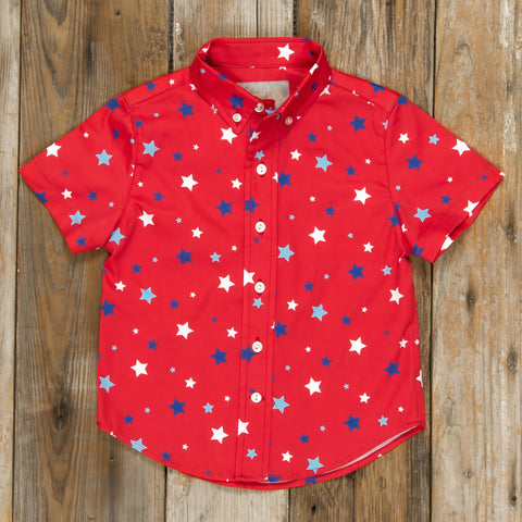 Patriotic Party Red Stars James Button Down