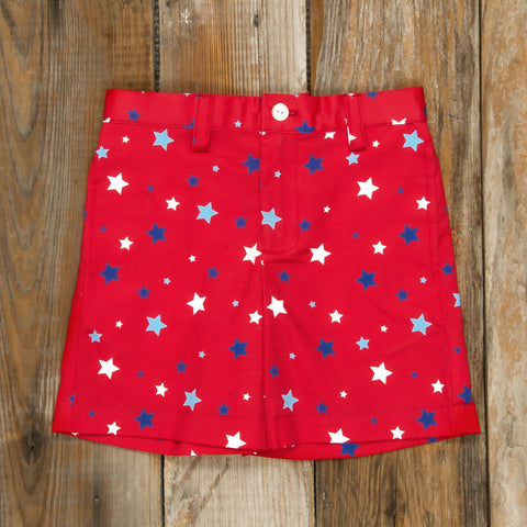 Patriotic Party Red Stars Flat Front Shorts