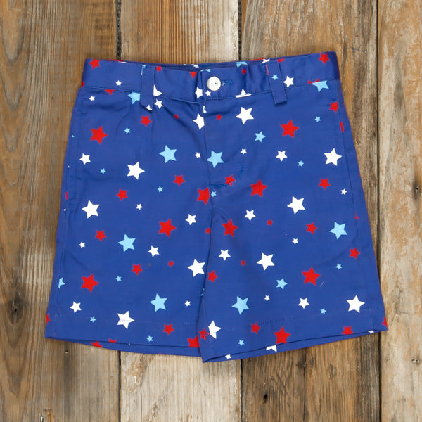 Patriotic Party Blue Stars Flat Front Shorts