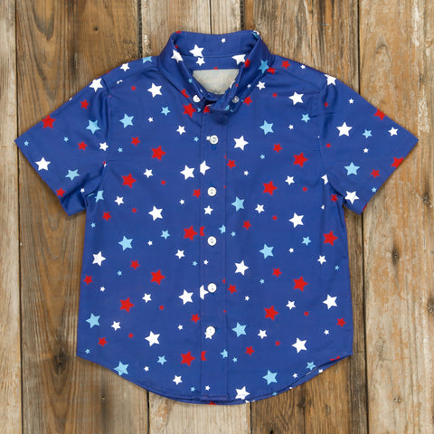 Patriotic Party Blue Stars Button Down