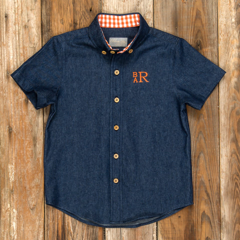 Pumpkin Patch Parade James Denim Button Down Shirt