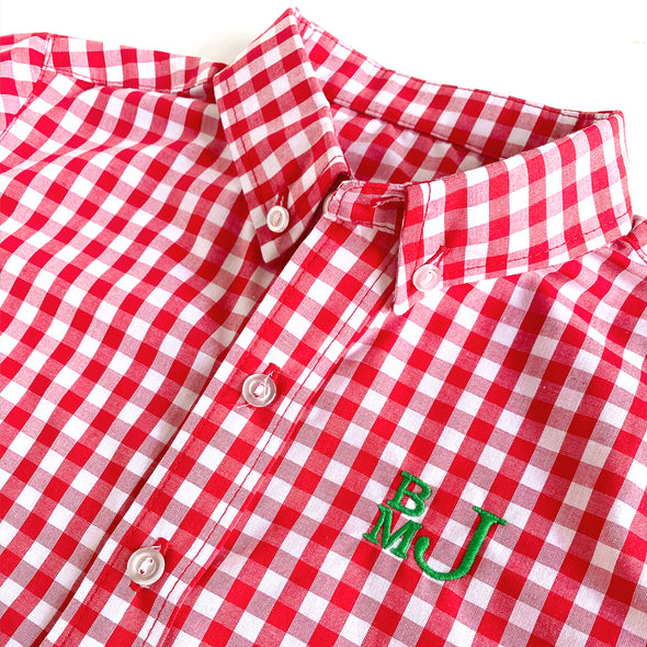 Red Check James Button Down Shirt