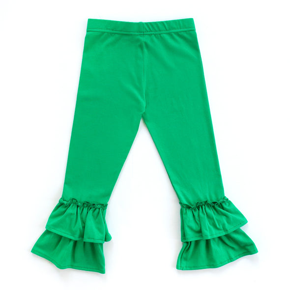 Green Knit Ruffle Pants