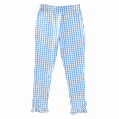 Blue Gingham Knit Reese Legging