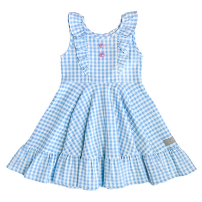 Blue Gingham Knit Demi Dress