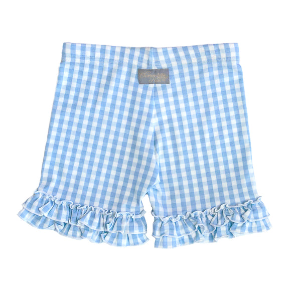Blue Gingham Knit Brailey Shorties