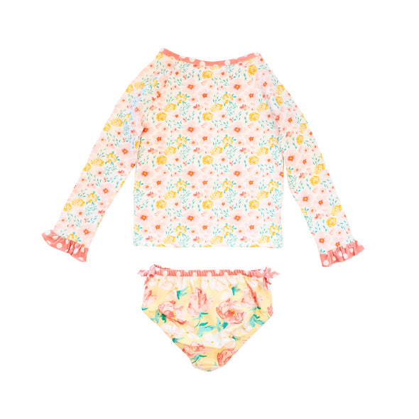 Yellow Fresh Flowers Rash Guard Set