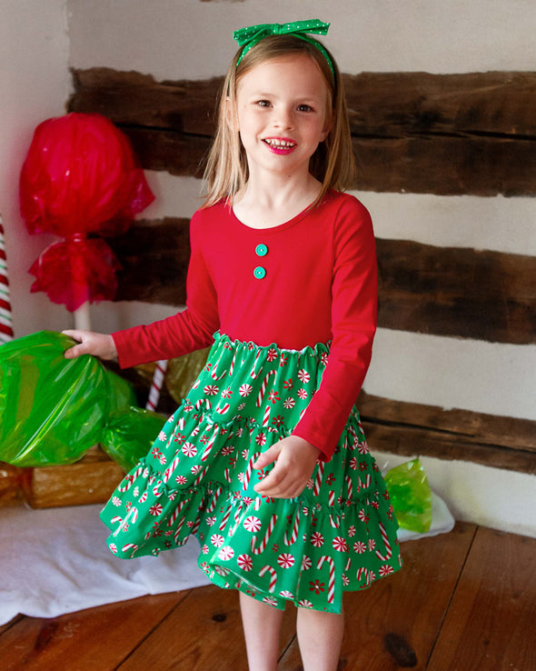 Red Candy Cane Knit Tiered Dress