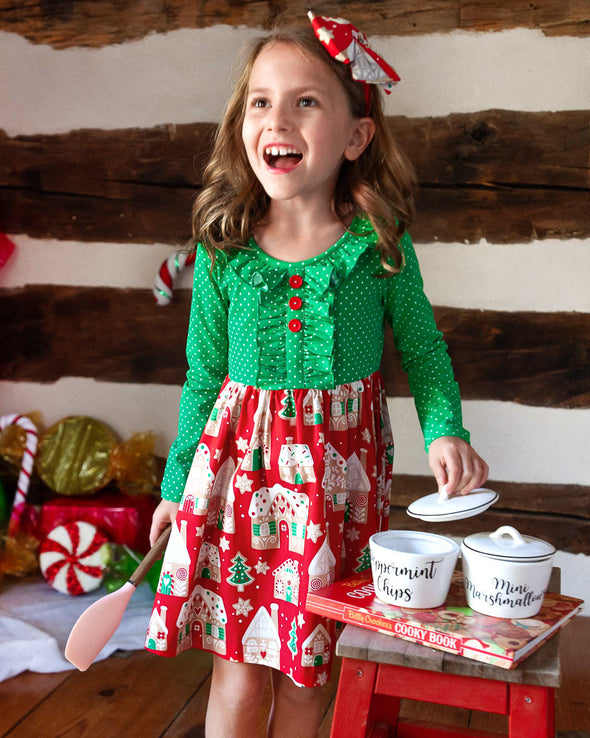 Red Gingerbread Knit and Woven Dress