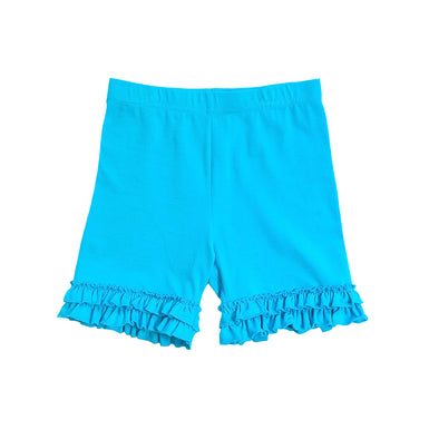 Scuba Blue Brailey Ruffle Knit Shorts