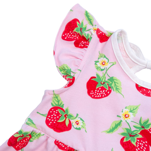 Strawberries Pink Knit Piper Bubble