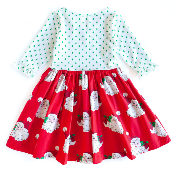 Red Santa Knit and Woven Dress