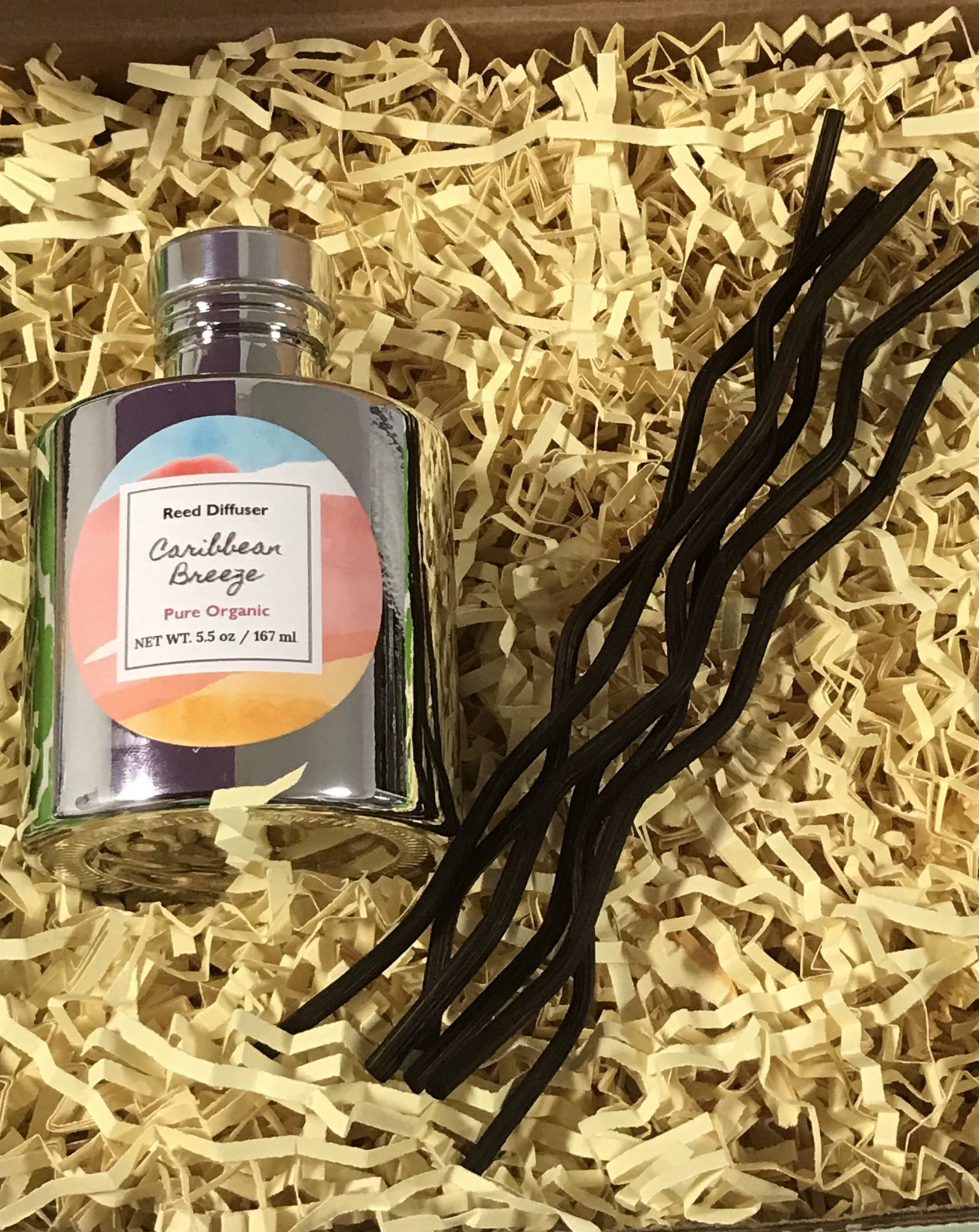 Reed Diffuser- Caribbean Breeze - Decorative & Aromatic - Handmade Ladey Bella