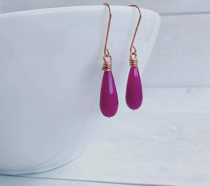 Handmade Copper + Fuchsia Quartz Teardrop Earrings
