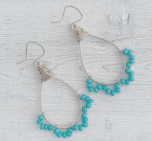 Load image into Gallery viewer, Handmade Sterling Silver Hoop + Lace Earrings