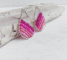 Load image into Gallery viewer, Handmade Sterling Silver Beaded Teardrop Earrings