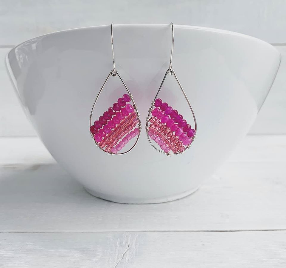 Handmade Sterling Silver Beaded Teardrop Earrings