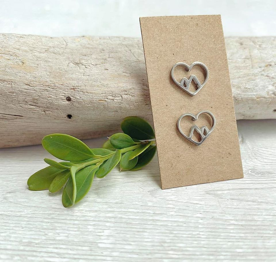 Stainless Steel Mountain Heart Stud Earrings