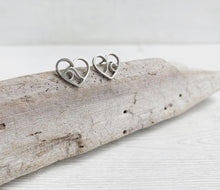 Load image into Gallery viewer, Stainless Steel Mountain Heart Stud Earrings