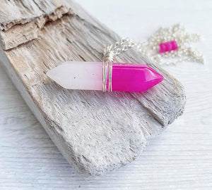 Handmade Rose Quartz Double Point Pendant Necklace