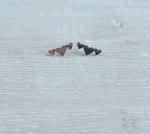 Stainless Steel Trio of Hearts Stud Earrings
