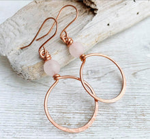 Load image into Gallery viewer, Handmade Copper + Rose Quartz Hoop Earrings
