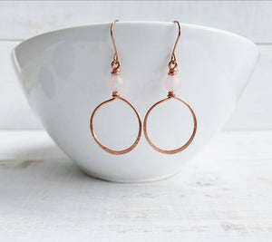 Handmade Copper + Rose Quartz Hoop Earrings