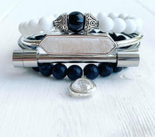 Load image into Gallery viewer, Black Onyx + White Jade + Quartz Stacking Bracelets