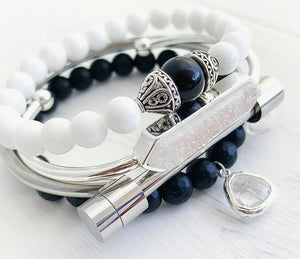 Black Onyx + White Jade + Quartz Stacking Bracelets