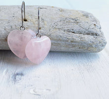 Load image into Gallery viewer, Rose Quartz Heart Dangle Earrings