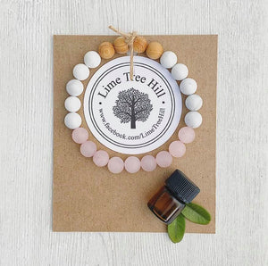 Aromatherapy Bracelet w/Rose Quartz + Wood + White Jade