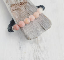 Load image into Gallery viewer, Peach Rhodonite Lava Aromatherapy Bracelet