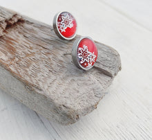 Load image into Gallery viewer, Stainless Snowflake Stud Earrings in Red