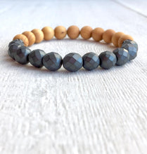 Load image into Gallery viewer, Lava Aromatherapy Bracelet w/Hematite + Wood
