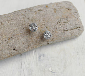 Winter Solstice Geode Stud Earrings Set of 3