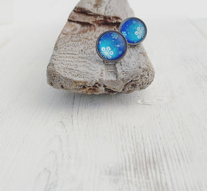 Stainless Snowflake Stud Earrings in Blue