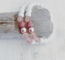 Load image into Gallery viewer, Rose Gold + Cherry & White Quartz Bracelet