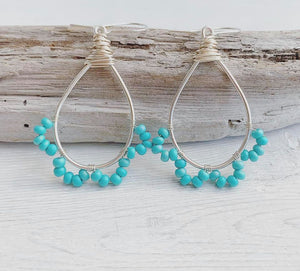 Handmade Sterling Silver Hoop + Lace Earrings