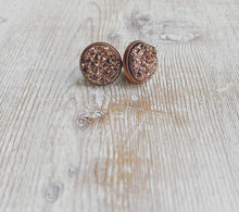 Load image into Gallery viewer, Copper on Copper Geode Stud Earrings